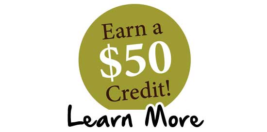 $50 Credit. Learn More.